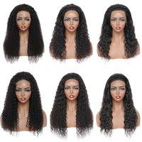 Прямые человеческие волосы 4x4 кружева закрывающие парики для женщин оптом бразильский странный кудрявый корпус воды глубокая волна 180% плотность 13x4 фронтальный парик