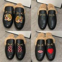 الفاخرة مصمم أحذية الرجال النعال princetown الفراء البغال شقة سلسلة السيدات عارضة أحذية النساء رجل المتسكعون مولر شبشب ري الشرائح صندل صندل