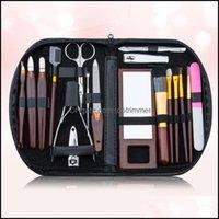 Art Salon Health & Beauty17Pcs Set Set Nail Scissor Clipper Kit Makeup Brush Eyebrow Tweezer Trimming Manicure Tools Drop Delivery 2021 Vdoa