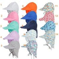DHL 14スタイルUV保護太陽の帽子ユニセックス新生児幼児子供赤ちゃん男の子女の子夏のビーチの帽子の屋外バケツ帽子キャップコットン