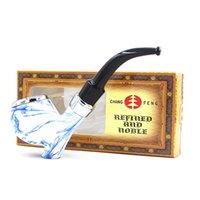 Изогнутые бакелитовые трубы для курения китайский стиль синий и белый фарфоровая табачная труба стоящая смола сигаретный держатель с коробкой