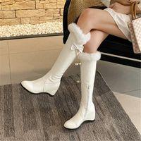 Boots PXELENA Faux Fur 2022 Winter Warm Knee High Snow Women Plus Size 34-43 Black White Hidden Heels Shoes Butterfly-knot Pearl