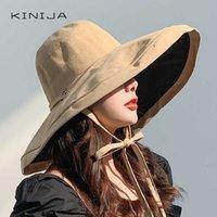 summer women Double side fashion wide Large brim Sun Hat outdoor beach fisherman cap UV proof sun protection hat bucket 211013