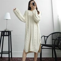 Casual Dresses Autumn winter knitted sweater gown with long sleeves Korean style lateral slit fashion woven dress in or crocheted robe I7DJ