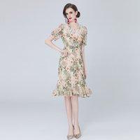 Butik Organze Çiçek Elbise Puf Kol Yaka kadın Yaz Baskılı Elbise High-end Moda Lady Elbiseler Parti Elbise