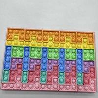 40 قطعة / المجموعة الأطفال rainbow بناء كتلة fige لعبة الأزياء دفع رائدة الكرتون الاطفال فقاعات بوبرس لغز الضغط لعبة للعام الجديد هدية G87PO3T