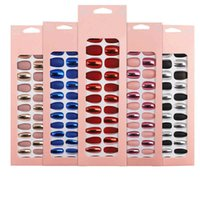 24 Pcs Wearable False Nails for Women Girls Metallic Matt Glister Fake Nail with Jelly Stickers Manicure Tools