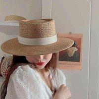 Wide Brim Hats Bucket Women 2021 French Flat Top Straw Small Fresh Retro Temperament Hat Sunshade Beach Caps Vacation