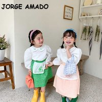 Wholesale Spring Korean Style Baby Girl 2-pcs Sets Embroidery Peter Pan Collar Shirts + Floral Skirts Kids Clothes E596 210610