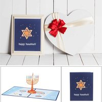 3D Happy Hanukkah Pop Up Tarjetas Celebrando Chanukah Menorah Tarjeta de felicitación Festival judío del regalo de la luz Rainbow Vela de las luces de las luces del titular Ornamento de la fiesta L805WK
