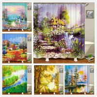 Shower Curtains Oil Painting Scenery Flowers Plant Swan Spring Landscape Bath Curtain Waterproof Bathroom Decor Polyester Cloth