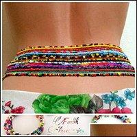 Jewelryethnic Sexy Beach Waist Chain African Belly Bead Chains 7Pcs Set Tribe Colored Resin Beaded Summer Bikini Body Jewelry Aessories 805