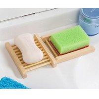 Plato de jabonera de madera natural Soporte de bandeja de jabón de madera Almacenamiento creativo Placa de estante de la placa de estante para ducha de baño Suministros de baño DBC BH2964