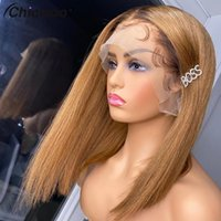 Lace Wigs Straight Bob T4 27 Honey Blonde Front 180% Peruvian Remy Hair Colored Human For Women 4x4 Closure Wig