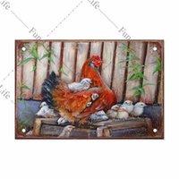 Affiche de poulet Vintage en métal métal panneaux Plaque Coq PLACE PLAQUE PLAQUE BAR PLAQUE BAR POUCH FERME FERME MAISON MURAL DÉCOR (N-3)