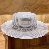 2021 nuove donne classiche cappelli da sole pieghevoli traspirante bianco bianco traspirante chiesa per signore strass band estate piatto boater beach cappello yk29