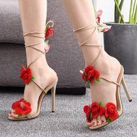 Sommer dicke High Heels Sandalen Frauen mit rosafarbenen Dekoration Lace Up Dressing Pumps Sexy Party Schuhe Frau Mode Design G3 U3QL #