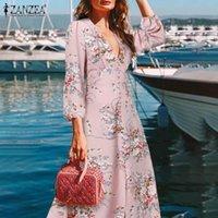 Повседневные платья праздник цветочные напечатанные напольные сарафан 2021 осенняя вечеринка V шеи халат женские элегантные линией платье занзеа модный бегемиан