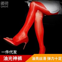 Qinghe New 912 needle Closed crotch oily pantyhose women's stockings bare legs sexy open crotch transparent oily bottoming