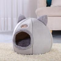 Casa de gato suave Cara cálida Tienda de cuevas con cojín extraíble Invierno Sleeping Pet Pet Pet Nest Cats Products Y200330