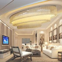 Modern LED Cristal Grande Chandelier Pingente Luz Para Villa Sala de estar Hall Luz do Teto Oval Hotel Lobby Personalizado Club Club Project
