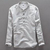 Men's Casual Shirts Stand Collar Long Sleeves Linen Cotton Shirt Summer Men White Sky Blue Solid Dress Male