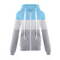 Women's color matching sports hooded sweater coat women's jacket in autumn and winter