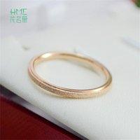 خواتم الزفاف الكورية نمط جولة شكل روز الذهب والفضة فرك اللون الفولاذ ستيل التيتانيوم الذيل الدائري للنساء الرجال المجوهرات