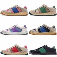 2021 شعبي مصمم أحذية بيع للرجل النساء فرز جلد حذاء رياضة نمط الأخضر الأحمر شريطية الرياضة الأبيض عارضة أحذية رياضية