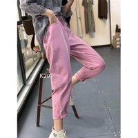 Women's Jeans Calça jeans feminina cintura alta solta, peça casual vintage plus size com bolsos para moças lmontagem 8EB2