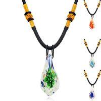 1PC Italien Verre intérieur Grand Pendentif Collier Pull Sweater Chaîne Boho Lampework Murano Glass Pendentif Collier pour femme bijoux 2021