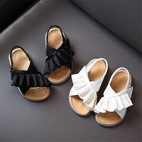 Sandals Summer Girls Leather Ruffles Toddler Kids Shoes Soft Sole Princess Fashion Little Baby Casual Non-slip