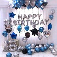 26 unids 30 '' Número 18 globos de lámina de plata Metallic Air Globos Crown 18 aniversario Feliz cumpleaños Decoraciones de fiesta Suministros