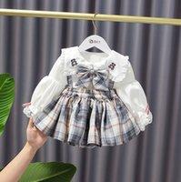 Toddler Princess Abbigliamento Set Autunno Girl Girl Lolita Outfits Autunno Dress College Carino Bambini Cartone animato Camicia ricamante + Plaid Pleated Skirt Skirt 2pcs Suits S1603