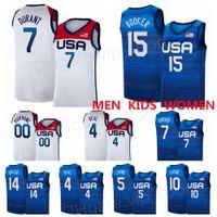 الولايات المتحدة كرة السلة جيرسي 2020 الألعاب الأولمبية الصيفية 7 أزرق كيفن دورانت 15 ديفين بوكر 6 داميان ليلارد 10 جيسون تاتوم 5 زاك لافين خريس ميدلتون الولايات المتحدة الأمريكية 2021 المنتخب الوطني