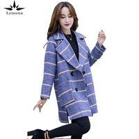 Frauen Wollmischungen Leiouna Lange Lose Mode Büro Dame Plaid 2021 Mantel Winter Woolen Jacke Koreanische Warme Outwear Weiblich