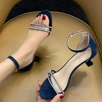 Dress Shoes Fairy Crystal Clear Band Open Toe Cover Heels Flock Woman Pumps Buckle Sandals Thin High Women Large Size 36-45