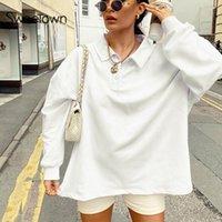 Женские толстовки для толстовки Послащенные твердые белые повседневные негабаритные для женщин осень моды с длинным рукавом наряда пуловерная уличная одежда