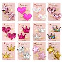 1 paio carino baby girl tacchiglie gradiente colore paillettes sequin a cinque punte stella clip per ragazze per bambini morsetto accessori per capelli