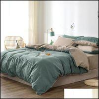 Bedding Supplies Textiles Home & Gardenbedding Sets Bedroom Set Bed Sheets Luxury Queen Comforter Black Linen Duvet Er Sheet King Size Drop