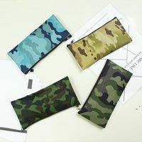 위장 연필 가방 간단한 휴대용 캔버스 화장품 가방 사무실 연구 편지지 저장실 케이스 19 * 9.5cm owe5177