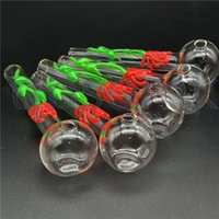 QBsomk dia 30mm ball Pyrex Oil burner pipe Glow in the dark Glass Tube Oil Burning Pipe glass pipes water pipes for smoking