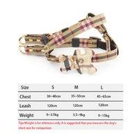 PET DOG HARNESS Abra 2 Conjuntos Classic Check Bow Teddy Cuello de peluche Cadena de cuerda para caminar para PEQUEÑO MEDIO MEJO ARNIMIENTO DE PET ADUCHE CONJUNTO DE CORREA