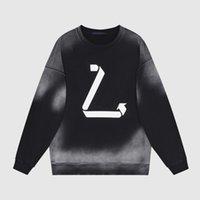 21FW 파리 환경 보호 반사 로고 넥타이 염료 씻어 까마귀 가을 겨울 스케이트 보드 하이 스트리트 hoody 유니섹스 streetwear 후드 스웨터