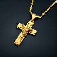 Pendant Necklaces Crucifix & Cross Pendants For Men Stainless Steel Gold Color Christ Jesus Piece Necklace Male Christian Jewelry