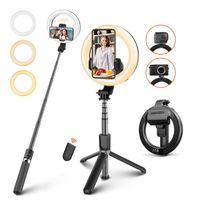 MKGLOBAL L07 Selfie Stick con LED a LED da 5 pollici LED Selfie Light with Treppiedi Stand Pieghevole Selfied Selfie per il trucco in diretta flusso