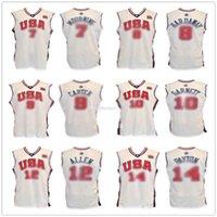 Alonzo Mourning Tim Hardaway Vince Carter Kevin Garnett Ray # Allen Gary Payton Olympic Basketball-Trikots Nähed Weiß Freies Verschiffen