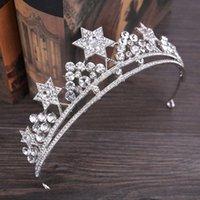 Clip per capelli barrettes forsiven lega a mano in lega di cristallo tiara sposa fascia argento colore stella forma corona gioielli da sposa gioielli accessori
