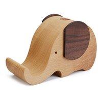 Teléfono celular Soportes Soportes L74B Creativo Diseñado Madera Made Elephant Stay Pop Holder Taza de escritorio Organizador Caja de madera linda para lápiz Contai