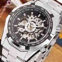 Forsining 2021 Stainless Steel Waterproof Mens Skeleton Top Brand Luxury Transparent Mechanical Sport Male Wrist Watches